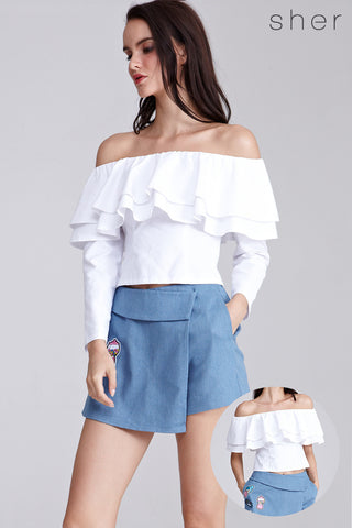 Devora Ruffles Off Shoulder Top in White - Tops - Twenty3