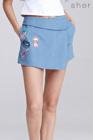 Arcadia Skort with Patches in Light Denim