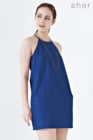 Twenty3 - Amabel Halter Shift Dress in Dark Denim -  - Dresses - 1