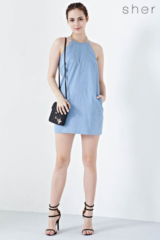 Twenty3 - Amabel Halter Shift Dress in Light Denim -  - Dresses - 1