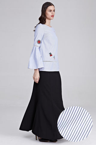 Ayu Flute Sleeves Top with Patches in Pinstripes