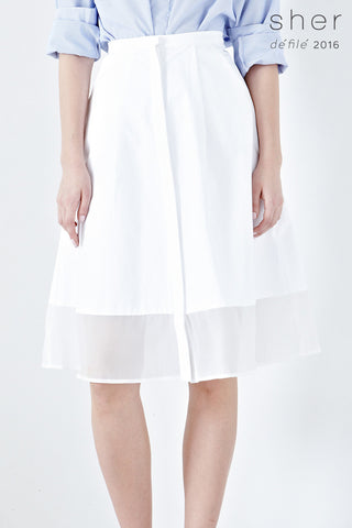 Twenty3 - Skyler Organza Panel Midi Skirt in White -  - Bottoms - 1