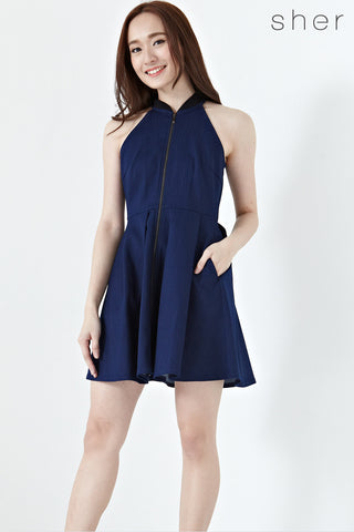 Twenty3 - Mckenzie Front Zipper Skater Dress in Dark Denim -  - Dresses - 1