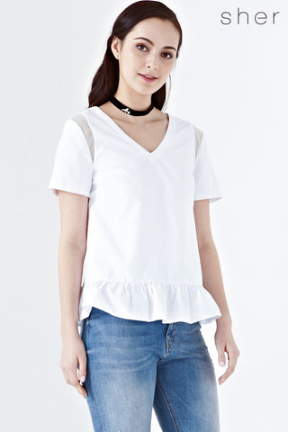 Twenty3 - Addie Ruffle Hem Short Sleeve Top in White -  - Tops - 1