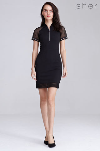 Sybill Organza Panel Bodycon Dress in Black