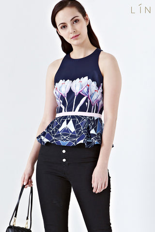 Twenty3 - [LIMITED EDITION] Flora Peplum Top in Felicia Placement Prints -  - Top - 1