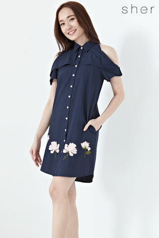 Demelza Cold Shoulder Shift Dress with Floral Embroidery in Navy Blue - Dresses - Twenty3