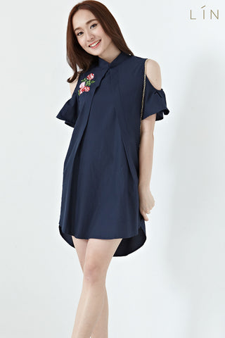 Twenty3 - Cressida Shift Dress with Floral Embroidery Patch in Navy Blue -  - Dresses - 1