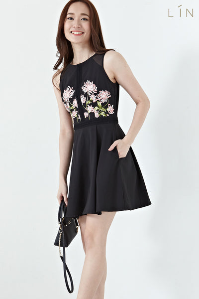 Benitoite Panel Skater Dress with Floral Embroidery in Black - Dresses - Twenty3