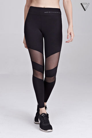 Carmela Mesh Panel Leggings in Black