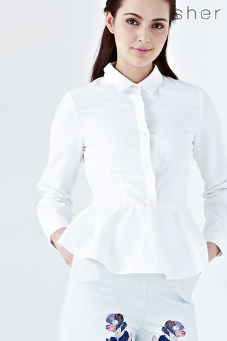 Twenty3 - Jeannie Long Sleeve Peplum Top in White -  - Tops - 1