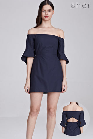 Syden Off Shoulder Dress in Navy Blue
