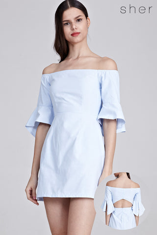Syden Off Shoulder Dress in Light Blue
