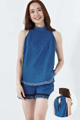 Judith Bow Back Detail Top in Denim