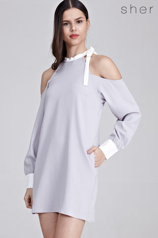 Weylyn Cold Shoulder Shift Dress in Grey - Dresses - Twenty3