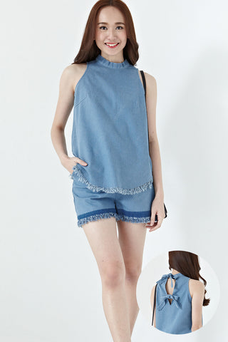 Judith Bow Back Detail Top in Light Denim