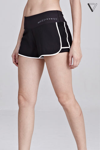 Gianna Contrast Binding Shorts in Black
