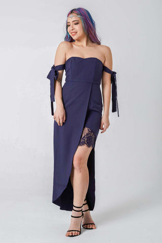Briary Multiway Dress with Lace Insert in in Navy Blue