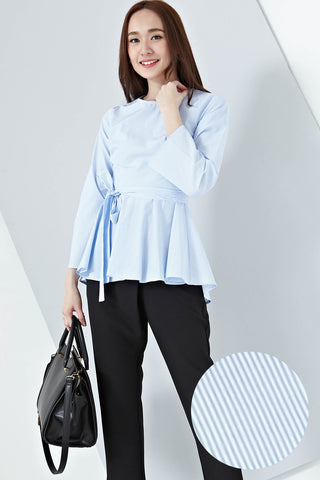 Adbera Flute Sleeves Top in Pinstripes - Tops - Twenty3