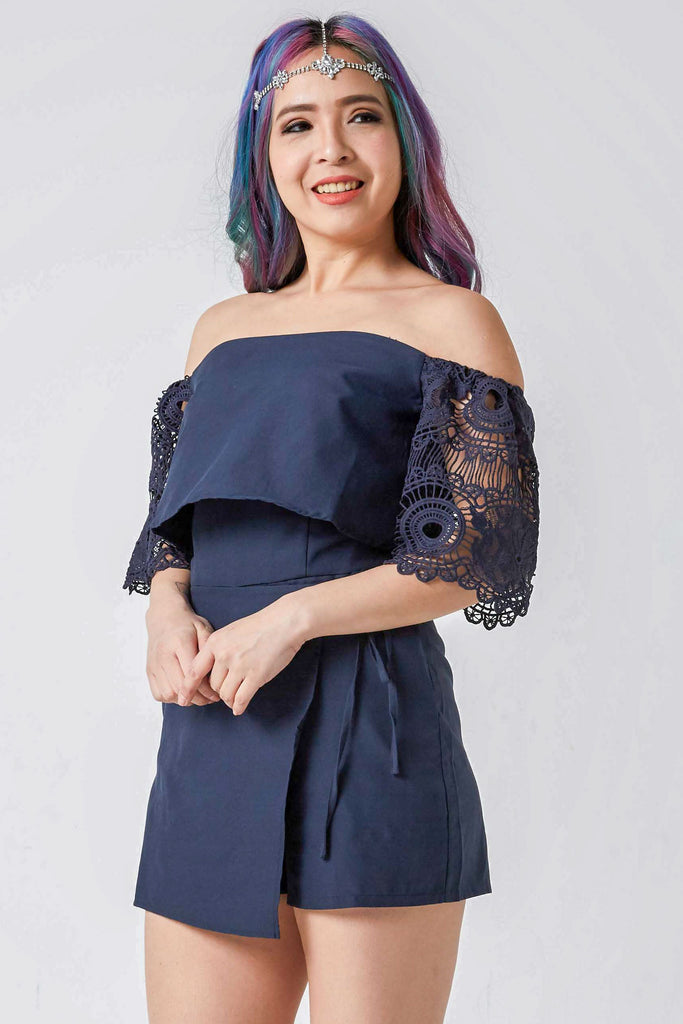 1a676669820 Recently Viewed Products. Kiersten Lace Sleeves Off-Shoulder Romper in Navy  Blue