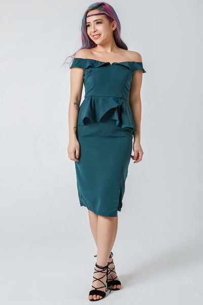 Melody Off Shoulder Sheath Dress in Emerald - Dresses - Twenty3