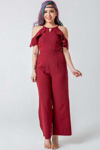 Two-Way Meggan Ruffle Cold Shoulder Jumpsuit in Burgundy