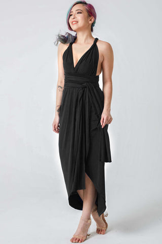 Mandy Convertible Bridesmaids Dinner Dress in Black