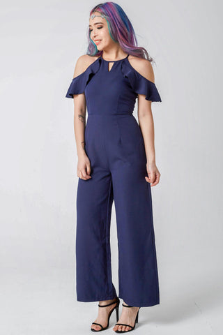 Two-Way Meggan Ruffle Cold Shoulder Jumpsuit in Navy Blue