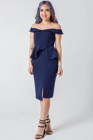 Melody Off Shoulder Sheath Dress in Navy Blue