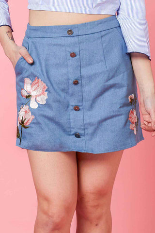 Tera Button Front Skort with Floral Embroidery in Light Denim