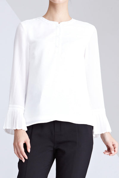 Soriella Pleated Flute Sleeves Top in White - Tops - Twenty3