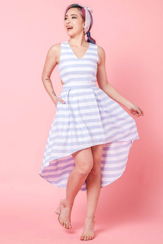 Melona Cutout Hi-Low Hem Skater Dress in Blue Stripes