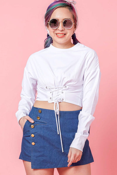 Effie Crop Top with Lacing Detail in White