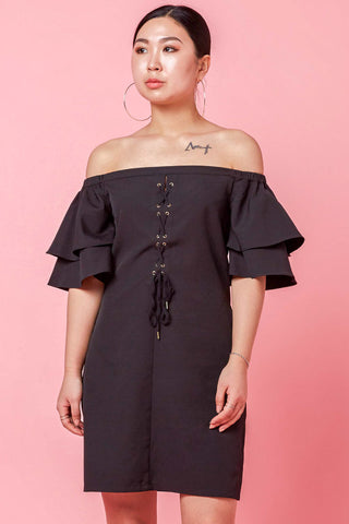 Two-Way Aniyah Off Shoulder Dress with Lace Up Detail in Black
