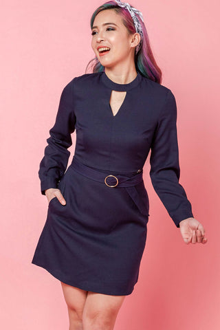 Sherya Long Sleeve Dress in Navy Blue