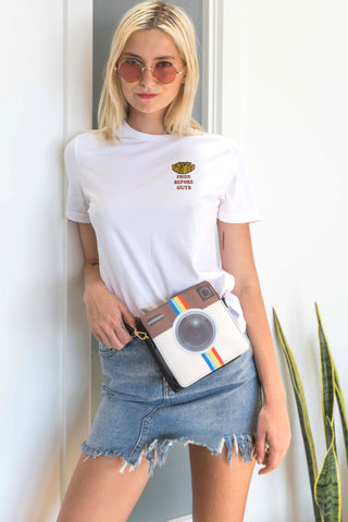 Carey T-Shirt with Fries Patch in White
