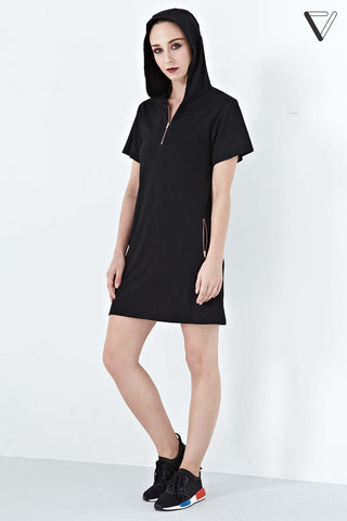 Twenty3 - Zeta Hoodie Short Sleeves Dress in Black -  - Dresses - 1