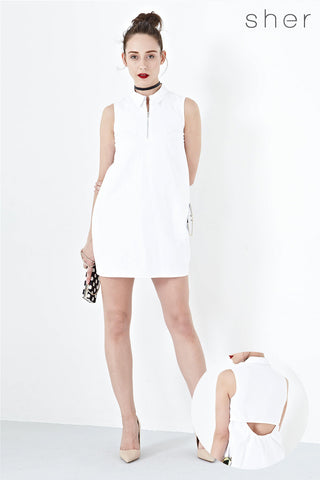 Twenty3 - Helga Shift Dress with Back Cut Out Detail in White -  - Dresses - 1