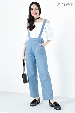 Twenty3 - Caralie Suspender Detail Long Pants in Light Denim -  - Bottoms - 1
