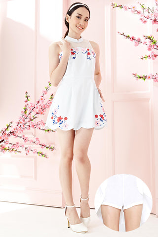 Twenty3 - Ainsley Scallop Hem Dress with Shorts Lining in Placement Graphic Floral -  - Dresses - 1