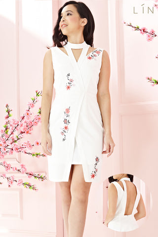 Twenty3 - Wilhemina Sheath Dress with Floral Embroidery in White -  - Dresses - 1