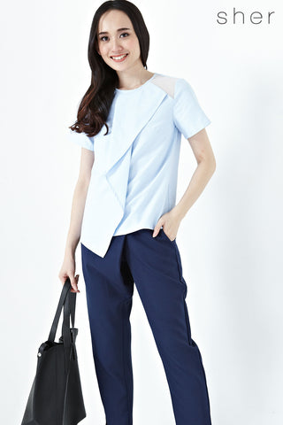 Roksanda Short Sleeves Top in Light Blue - Tops - Twenty3