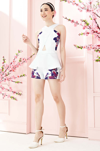 Twenty3 - Lunaria Peplum Romper in Mixed Purple Floral Prints -  - Romper - 1