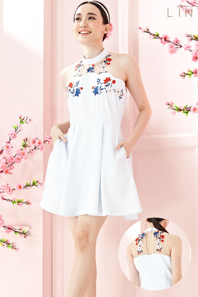 Twenty3 - Marjorie Skater Dress with Floral Embroidery in Light Blue -  - Dresses - 1