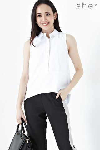 Briony Hi Low Hem Sleeveless Top in White