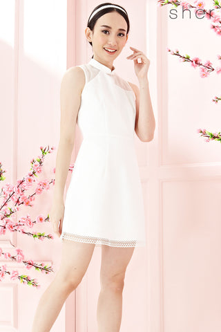 Twenty3 - Emmalle Organza Panel Cheongsam in White -  - Dresses - 1