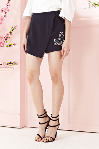 Twenty3 - Chantal Skorts with Floral Embroidery in Navy Blue -  - Bottoms - 1
