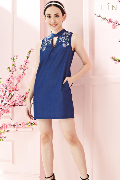 Twenty3 - Chantal Shift Dress with Embroidery in Denim -  - Dresses - 1