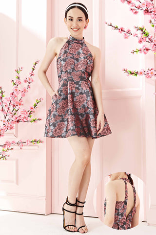 Twenty3 - Ariella Back Cutout Skater Dress in Metallic Pink Florals -  - Dresses - 1