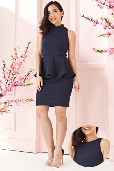 Twenty3 - Phyllis Cheongsam Peplum Bodycon Dress in Navy Blue -  - Dresses - 1